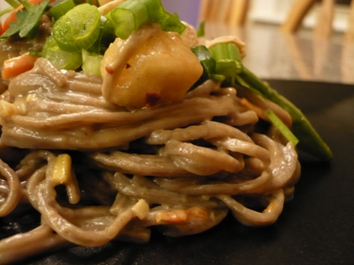 Spciy Soba Noodles with Chicken or Tofu in Peanut Sauce The